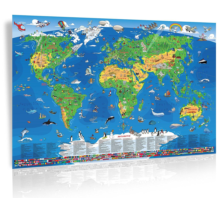 Amazon: XXXL-Kinder Weltkarte (195 x 138 cm) inkl. Kinderatlas und Freizeitkarte wieder im Angebot