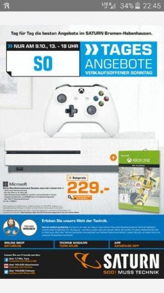 (Lokal Saturn Bremen) Xbox One S 500GB + Fifa 17 DLC [NUR AM SO. 13-18Uhr]