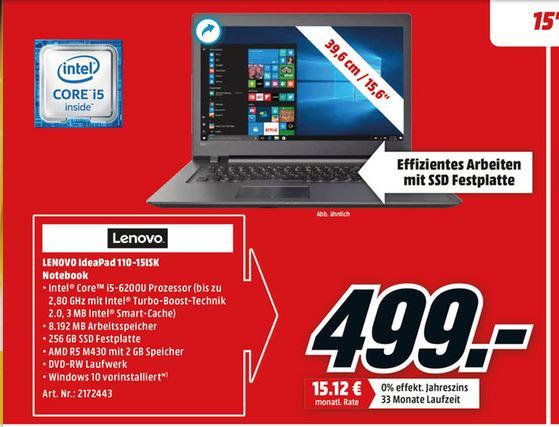 LENOVO IdeaPad 110 / 15.6 Zoll / 8GB / i5 / 256GB SSD / dedizierte Grafikkarte / HD-Display