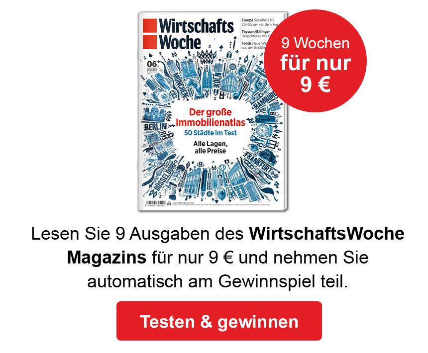 9 Wochen die WirtschaftsWoche Print oder Digital für nur 9 €