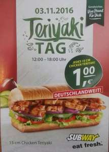 [SUBWAY] Chicken Teriyaki Tag am 03.11.2016 für 1 Euro!