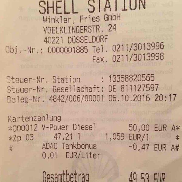 Lokal Düsseldorf: V-Power Diesel für 1,05 €/ Liter
