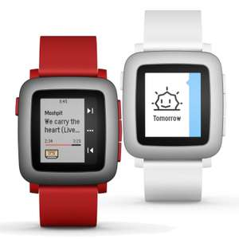 Pebble Time Smart Watch weiß rot IOS Android Fitnessuhr ePaper Farbdisplay, Rückläufer  (ebay wow)