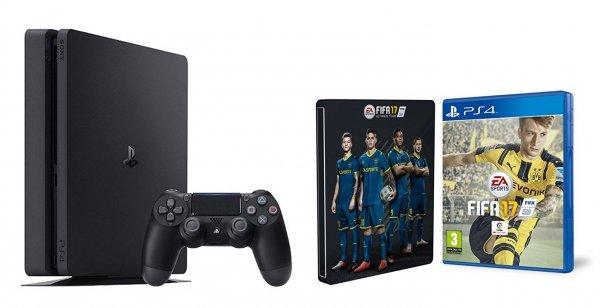 (Amazon.es) PlayStation 4 Slim 1TB + FIFA 17 + Steelbook für 303,41€