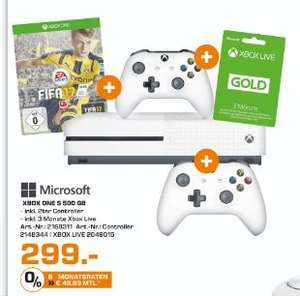 [Lokal Saturn Herford] Microsoft Xbox One S 500GB + FIFA 17 + 2.Controller (Neuste Revision) + 3 Monate XBox Live Gold für 299,-€