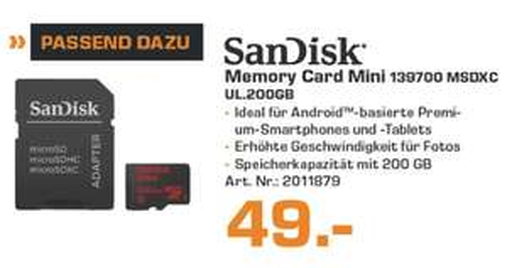 [Lokal Saturn Hagen/Iserlohn] SanDisk Ultra 200GB microSDXC bis zu 90 MB/?Sek, Class 10 Speicherkarte für 49,-€
