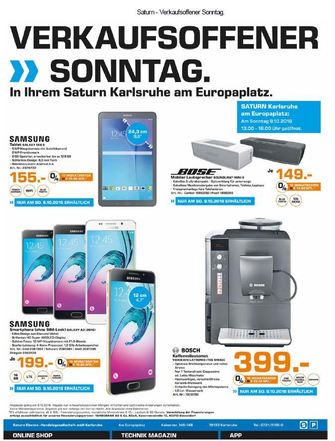[lokal Saturn  Karlsruhe*Nur Sonntag 09.10.] Elektronik unter Idealo z.B. Bose Soundlink Mini 2 149€, Samsung Galaxy A3 199€