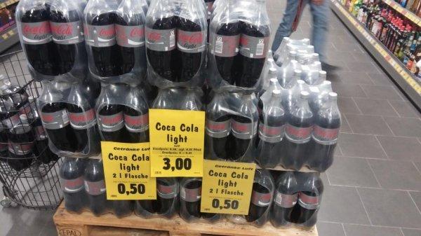 Coca Cola Light 2L Lokal 46519 Alpen für 50Cent