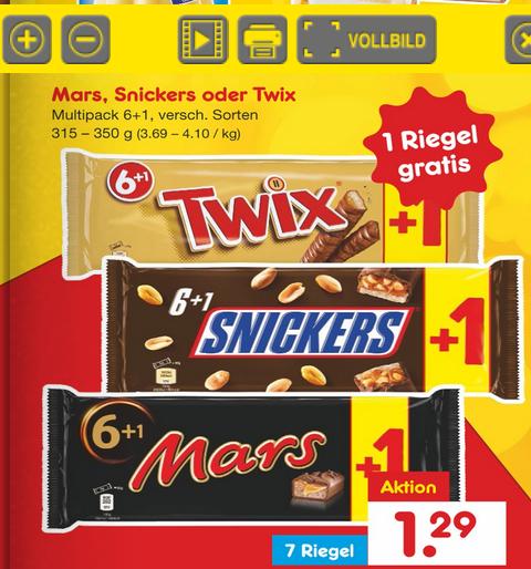 Netto MD Twix, Mars, Snickers im 7er Pack für 1,29€