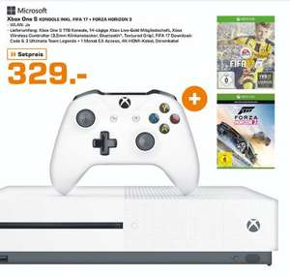 [Lokal Saturn Lübeck] MICROSOFT Xbox One S 1TB Konsole + FIFA 17 + Forza Horizon 3 für 329,-€
