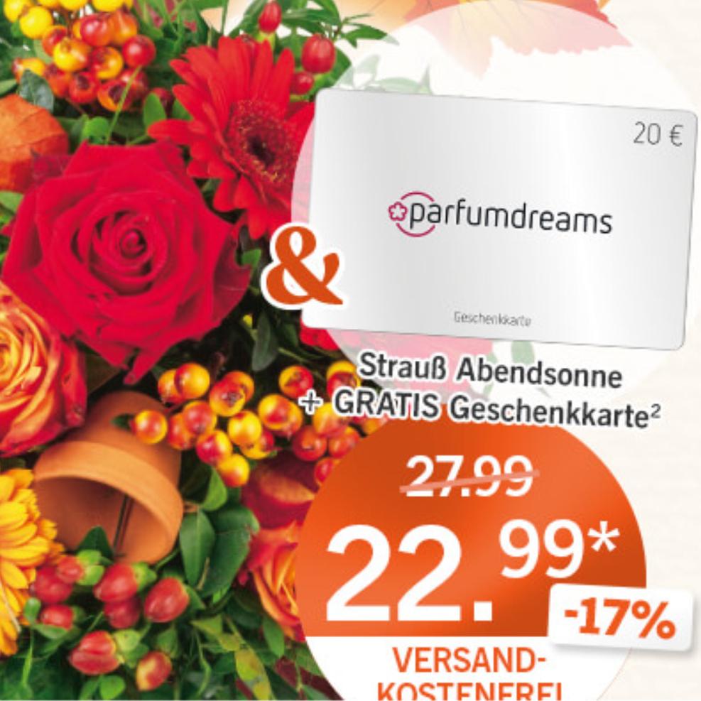 Lidl Blumenstrauß + 20 Euro Parfumdreams Geschenkkarte