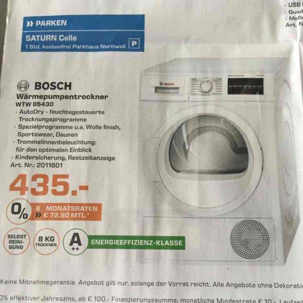 [Lokal Saturn Celle] Bosch Wärmepumpentrockner WTW85430