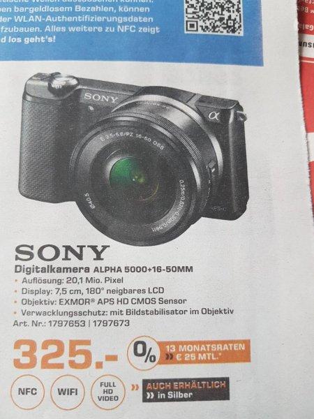 Systemkamera Sony Alpha 5000 + 16-50mm Objektiv - Lokal Saturn Mönchengladbach statt ca. 412€ für 325,- €