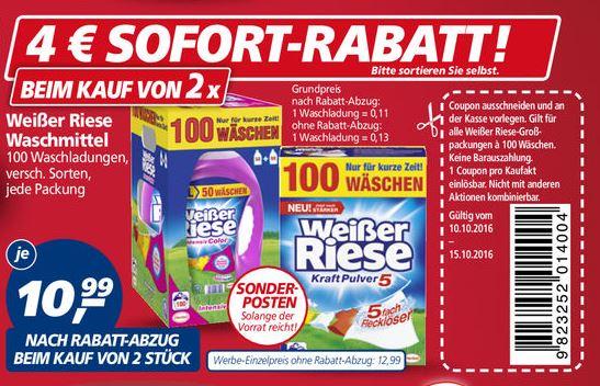 (real offline) 200 Waschladungen Weißer Riese durch 4 Euro Coupon (~11 Cent/WL)