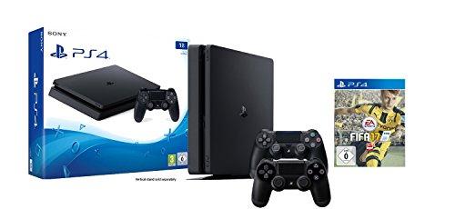 (Amazon + Mediamarkt) PS4-Konsole (1TB, schwarz, Slim), FIFA17 Bundle inkl. 2 Controller