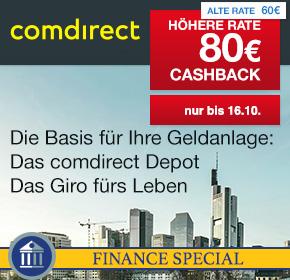 Shoop Finance Special: bis 16.10 erhöhte Cashbackraten für die Girokonten von Audi Bank, Comdirect, VW Bank, etc.