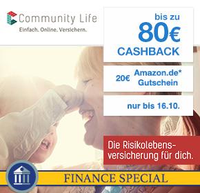 Community Life: 80€ Cashback + 20€ Amazon-Gutschein für Berufsunfähigkeitsversicherung via Shoop