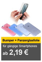 Smartphone UltraSlim Bumper und Panzerglas für versch. Modelle