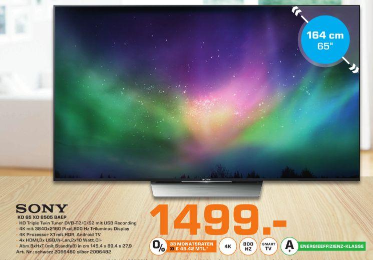 [Lokal Saturn Leverkusen ab 12.10] SONY KD-65XD8505, 164 cm (65 Zoll), UHD 4K, SMART TV, LED TV, 800 Hz, DVB-T, DVB-T2 (H.265), DVB-C, DVB-S, DVB-S2 in Schwarz oder Silber für je 1499,-€