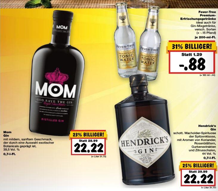 [lokal Kaufland Berlin Biesdorf & Eiche] Hendrick´s Gin für 22,22€ und Fever-Tree Tonic für 0,88 €