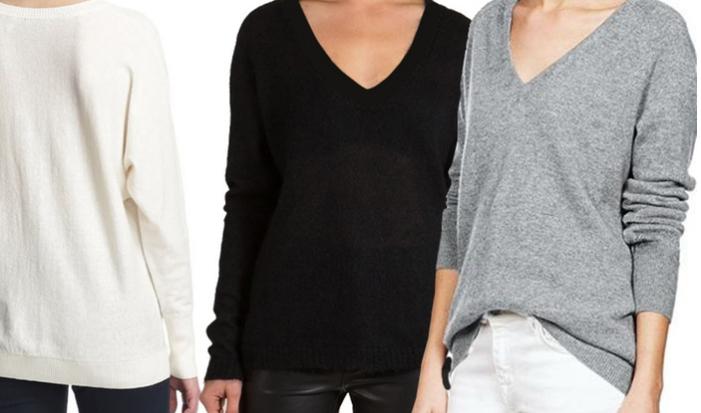 Kaschmirpullover für Damen (60%) mit V-Neck und in 6 Farben für 22,98€ @Groupon