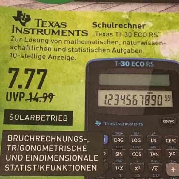 Texas Instruments TI-30 Eco RS für 7,77€   Marktkauf