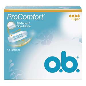 [Amazon Plus] o.b. Tampon Pro Comfort Super 48er, 1er Pack (1 x 48 Stück)