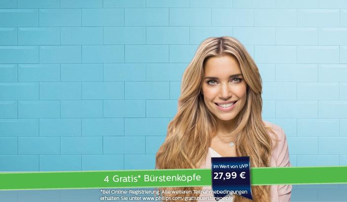 4 gratis Bürstenköpfe beim Kauf einer Philips Sonicare Zahnbürste aus einer dieser Familien: HealthyWhite+, FlexCare, FlexCare+, FlexCare Platinum, DiamondClean