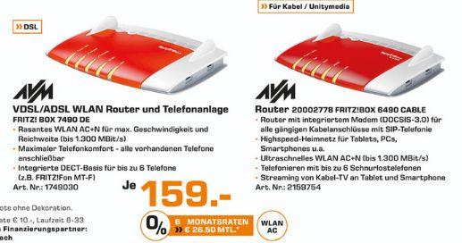 [Lokal Saturn Essen] AVM FRITZ!Box 6490 Cable oder AVM FRITZ!?Box 7490  für je 159,-€