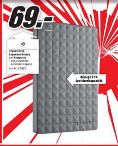 [Lokal Mediamarkt Duisburg] SEAGATE Expansion Portable Rescue Edition STEA2000200, Externe Festplatte, 2 TB für 69,-€