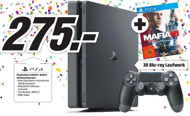[Lokal Mediamarkt Holzminden /Stadthagen] Sony PlayStation 4 (PS4) Slim 500GB + Mafia 3 für 275,-€