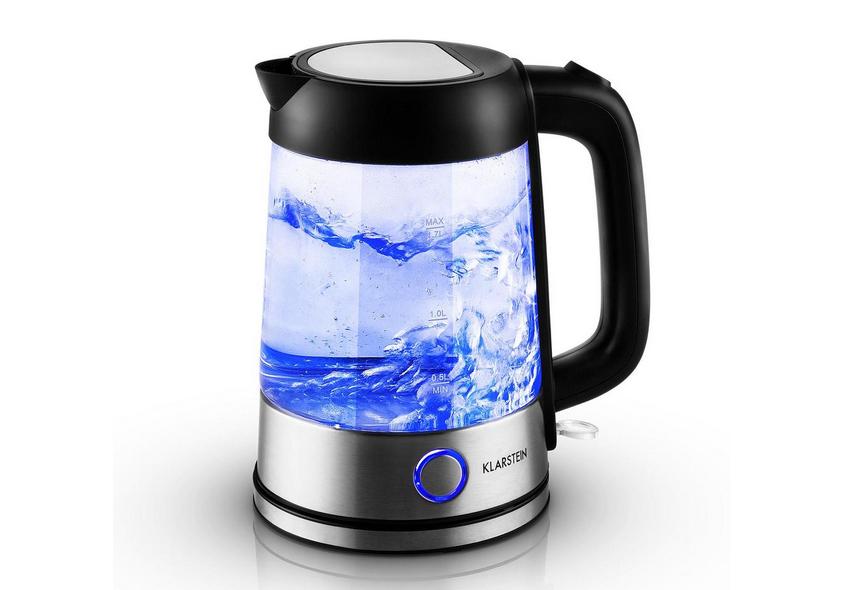 KLARSTEIN Tiefblau Wasserkocher 1,7 Liter 2200W blaue LED-Beleuchtung