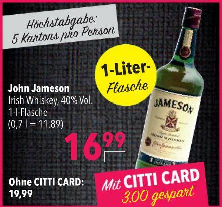 Jameson™ - Irish Whiskey 1,0 Liter für €16,99 [@Citti]