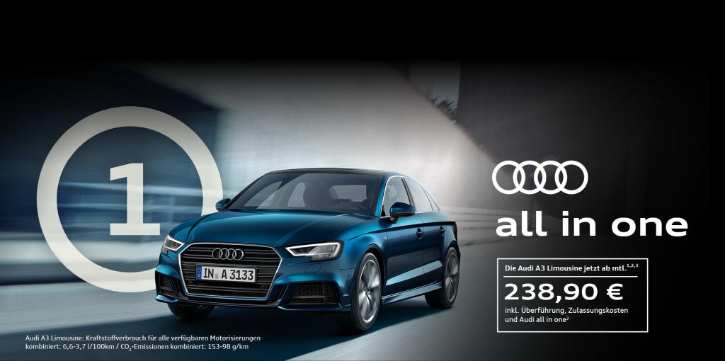 [Privatleasing] Audi A3 Limousine 1.4 TFSI (150PS) für 238,90€ inkl. Versicherung + ServiceKomfort und Sonderzahlung über 36 Monate