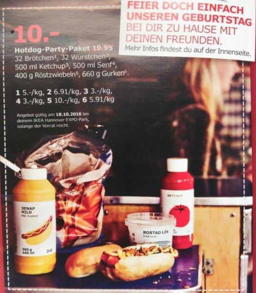 [lokal 10 Jahre IKEA Hannover EXPO-Park] Hotdog-Party-Paket 10€ statt 19,95€ / gratis Gießkanne / gratis 50€ Aktionskarte