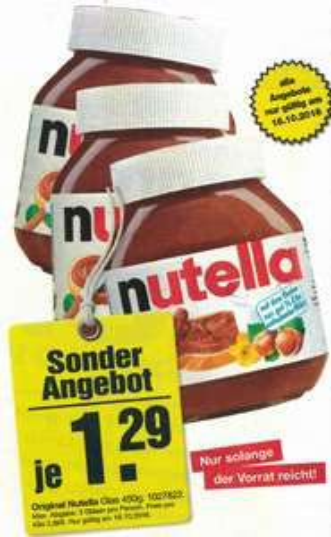 [LOKAL] Verkaufsoffener Sonntag Möbelhof Parsberg: Nutella 450 Gramm Glas
