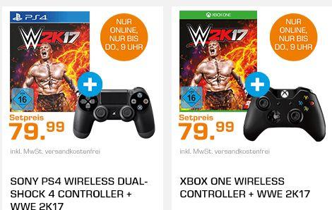 [Saturn Late Night] WWE 2K17 (PS4/XB1) + PS4 oder XB1 Controller für 79,99€ Versandkostenfrei