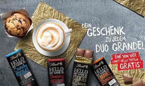 McCafé gratis Lindt hello Tafeln zum DUO Grande