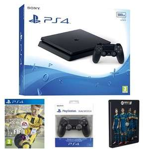 (Amazon.co.uk) PlayStation 4 Slim + 2. Controller + FIFA 17 + Steelbook für 292€