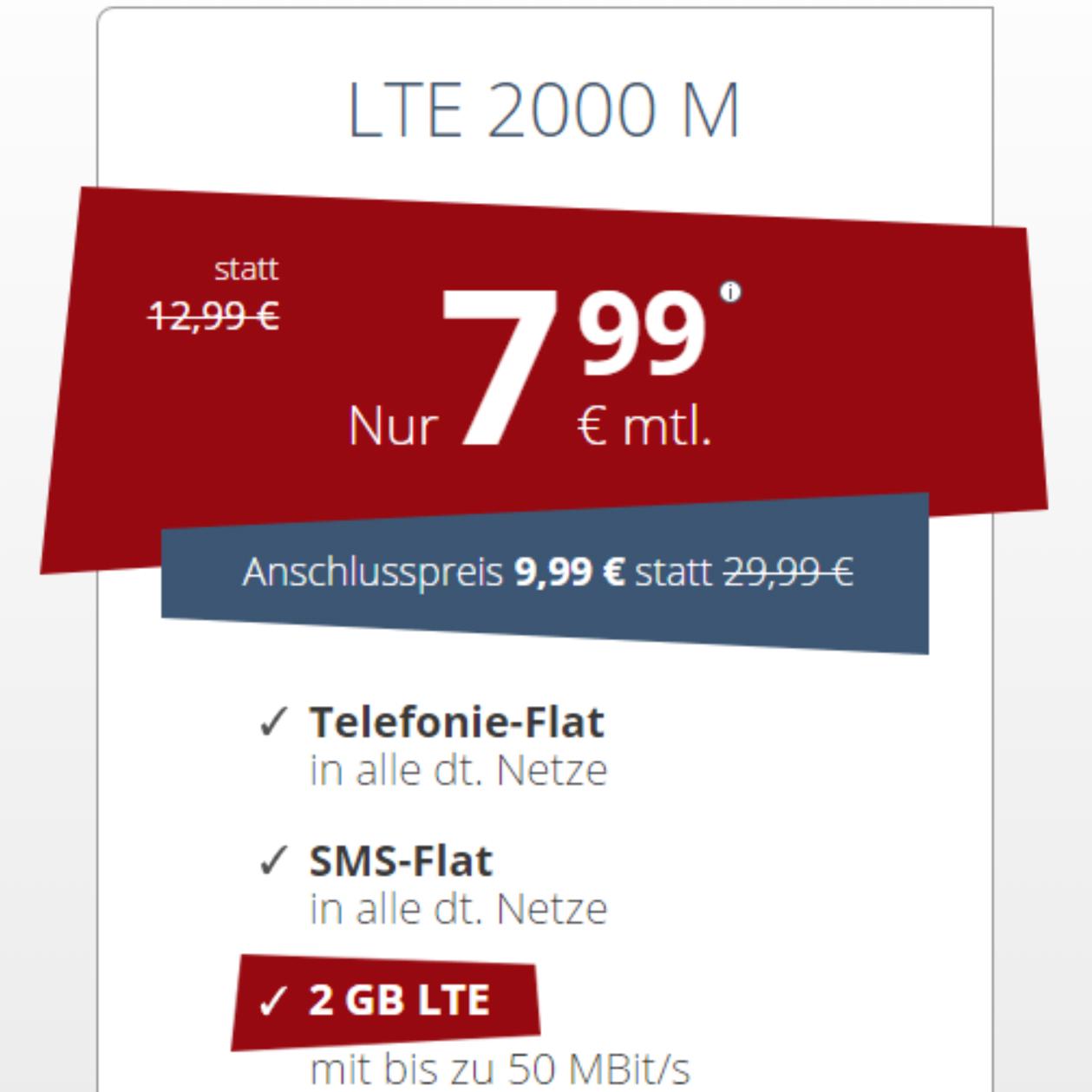 Drillisch kontert Tarifhaus-Preise aus: Allnet Flat + 2 GB LTE + EU Flat + monatlich kündbar für 7,99 € / Monat oder mit 3 GB für 9,99 € / Monat *letzte Chance*