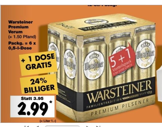 Kaufland ab 20.10 6er Pk. Warsteiner in der 0,5l Dose (ca 50cent/Dose)