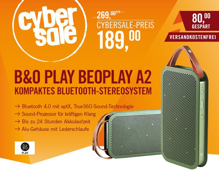 (CyberPort) CyberSale Bang & Olufsen BeoPlay A2 grün // sehr guter portabler Bluetooth Lautsprecher (idealo: 269€)