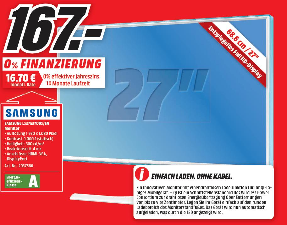"Samsung LS27E370DS 27"" Monitor mit Induktionsladefunktion"