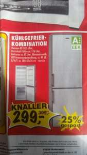 [SCONTO] Bomann KG 183 Silber Kühl-/Gefrierkombination, A+++, 176/65 Liter, 131 kWh/Jahr