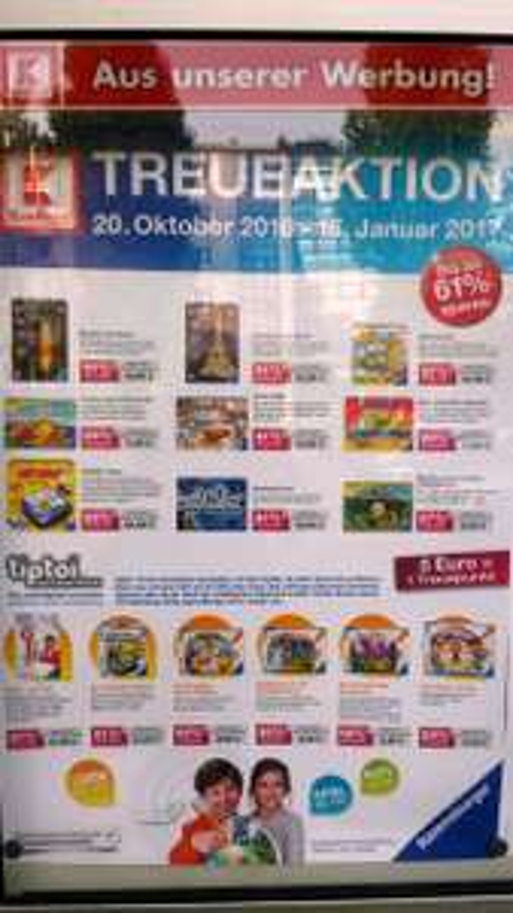 Treueaktion Kaufland mit ausgewählten Ravensburger Produkten z.b.Tiptoi 20.10.16-18.1.2017