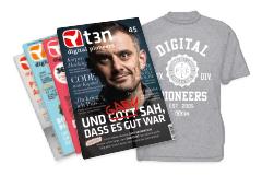 """Jahresabo t3n - Das Magazin für digitales Business + t3n Tshirt + """"Schnelleinstieg Raspberry Pi Zero"""" (i.w.v. 19,95€) für zusammen 35€"""