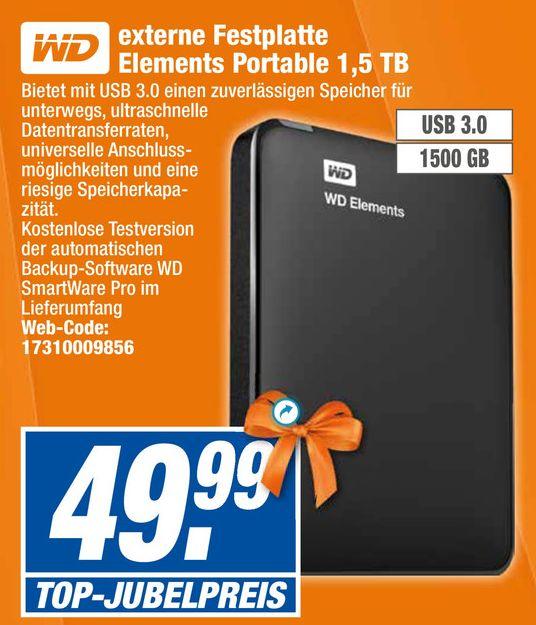[Offline alle 20 Expert-Technikmarkt Filialen] WD (Western Digital) Elements Portable 1,5 TB Externe Festplatte 2,5 Zoll USB3.0 für 49,99€