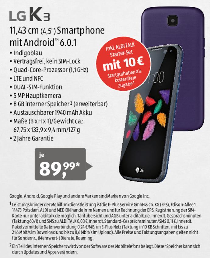 [Aldi-Süd] LG K3 Dual-Sim Android 6.0.1 Smartphone mit 10€ Aldi-Talk-Starter-Set für 89,99€ ab 27.10.2016