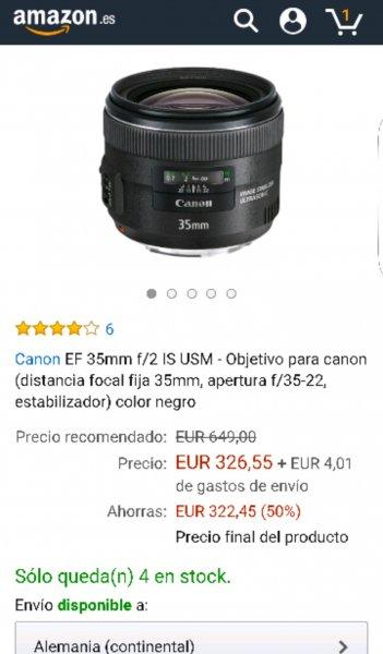 Objektiv für Canon bei Amazon Spanien!