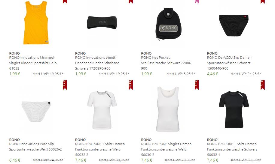 [Outlet46] RONO Sale, Sportshirt/Singlet/T-Shirt/Sportshirt/Triathlonanzug ab 1,99€
